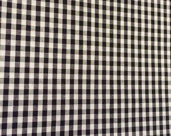 Gingham Black Fabric