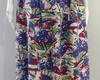 Whimsical 1940's Novelty Print Skirt