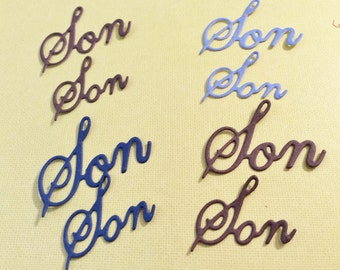 8 Son words, Handmade, Die Cuts, Sizzix, Scrapbooking, Cards, Blue, 2 Brown, Navy Blue, Embellishments, Cut Out Words