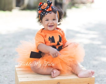 Pumpkin Tutu Halloween Costume-Baby Girl Jack-o-lantern Costume-Little Pumpkin Tutu Costume-My First Halloween Outfit *Bow NOT Included*