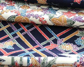 Silk Chirimen Crepe, Japanese Kimono, Navy Blue Fabric, Floral Kimono, Navy Blue Kimono