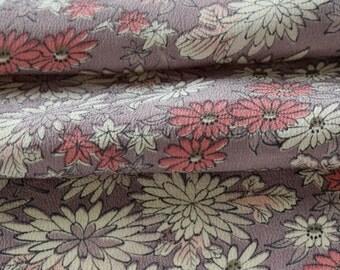 Vintage Kimono Silk, Kimono Fabric, Floral Fabric, Japanese Kimono, Silk Chirimen Crepe