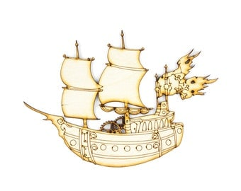 Pirate Ship, Craft Pirate,Pirate Decor, Laser Cut - 1qty - 7 x 4.85 Inch (17.78 x 12.32cm) - Steampunk, DIY Crafts, Party Crafts, Kid Decor