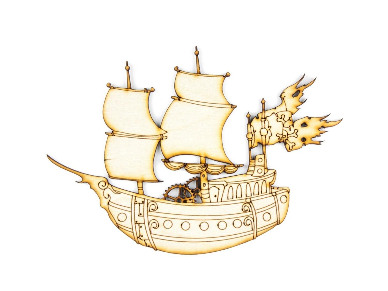 pirate ship craft pirate wood pirate laser cut 1qty 7 x