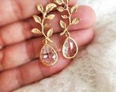 Gold Leaf Earrings, Bridal Earrings, Modern Wedding Jewelry, Gold Crystal Dangling Earrings, Bridesmaids Earrings Set, Bridesmaids Gift C1