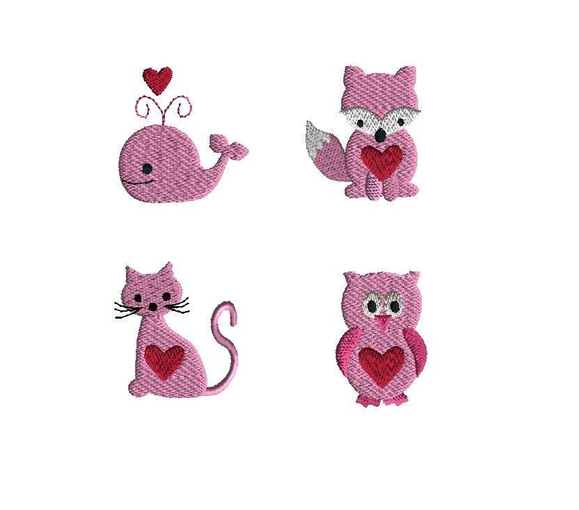 Mini valentine animal machine embroidery designs instant