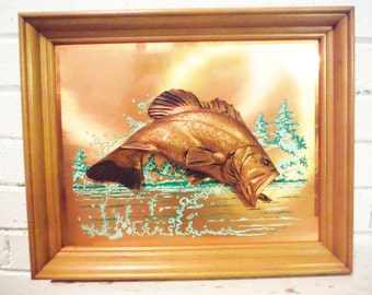 Rare fresh water fish picture john laum 1960's lake house decor copper dimensional framed wall art bass trout fisherman sportsman