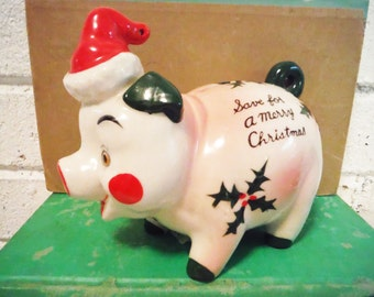Piggy bank mid century Christmas savings pig bank slotted coin red green white cute vintage