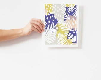 Modern Boho Wall Art / Colorful Abstract Wall Art / Palm Leaf Art Print / Matted and Framed / 5x7 8x10 11x14 16x20 18x24