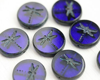 4pc Dark Blue Dragonfly beads, picasso finish, czech glass beads, table cut, round, tablet shape, cobalt beads - 17mm - 2534