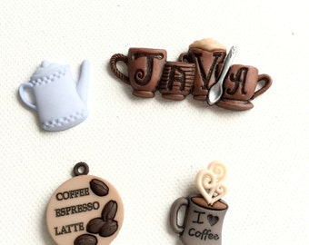 Coffee Magnets, Coffee Lover's Magnets, Java, Joe, Valentine's Day Gift, Office and Kitchen Decor