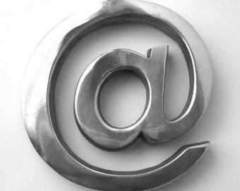 Original Metal Sculpture @ Sign, aluminum contemporary art piece, AT sign, computer lingo, technology history