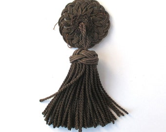Rare Antique Victorian Tassle 1890s, metal threads, unique ornamental knot, tassel,