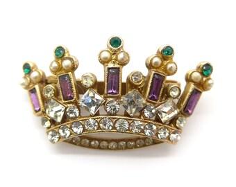 Vintage Gold Tone Pearl & Rhinestone Crown Brooch