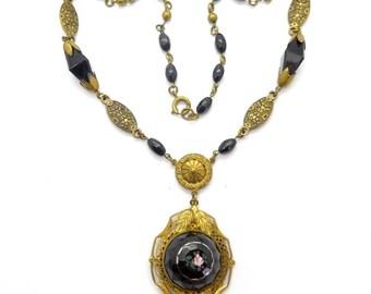 Vintage Art Deco Victorian Revival Czech Black Glass Rose Glass Bead Necklace