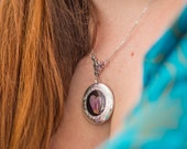 Real Bleeding Heart Pressed Flower Eco Resin Silver Locket Necklace (Limited Edition Item!)