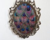 "Ornate Vintage Oval Filigree Frame with Peacock Feathers - ""Lustrous Elegance"""