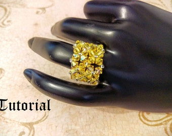 Tutorial PDF Right Angle Weave Swarovski Crystal and Lacey Seed Bead Stretchy Fashion Ring, Instant Download