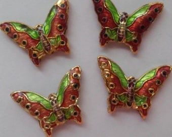 4 Beads - Cloisonne Green and Bronze Detailed Butterfly Beads