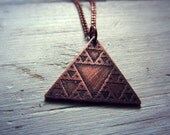 Sierpinski Triangle - Etched Copper Fractal Geometry Pendant Necklace