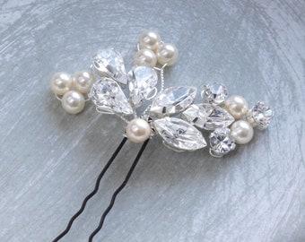 Crystal Diamante Pearl Bridal Hair Pin Leaf Floral Wedding Hair Accessories Bridesmaids Hair Clip Handmade Etsy UK
