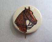 Vintage Large Horse Pin Pinback Button Equestrian Horse Riding Jean Jacket Button Horses Western Cowgirl Horse Show Equine