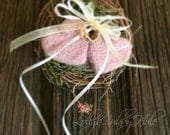 Ring Bearer Pillow Rustic Nest Blush Pink Wool Hearts Wedding Box Felted Hearts Woodland Ring Pillow