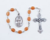Saint John the Evangelist (the Beloved Disciple), Brown Glass Beads, Patron Saint of Love, Loyalty, Friendship, and Authors