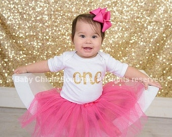 First birthday outfit girl Hot pink and gold birthday One gold glitter heart Birthday gold one First birthday gold glitter