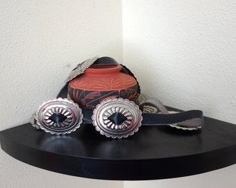 Vintage WESTERN Black Silver Concho Mexican Leather  Waist or Hip  Belt Santa Fe Style Southwestern