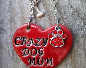 Crazy Dog Mom - Ceramic Ornament