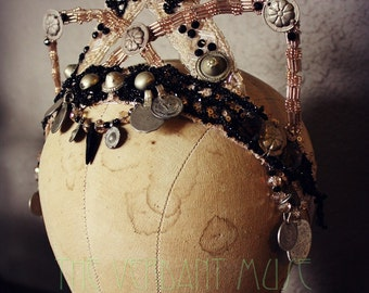 Champagne and Antique Jet ~Princess Kitten~ Wired Tiara Bellydance, Bridal or Burlesque Headdress