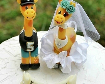 Giraffe wedding custom cake topper, baseball wedding cake topper, sport wedding, animal cake topper, wedding keepsake