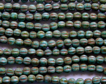 5mm Turquoise Picasso - Czech Pressed Fluted Melon Glass Beads, 25 PC (INCM45)