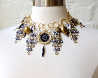 Statement Necklace-Black Tie- Black and Gold Mix with Rhinestones-Vintage Mix-Choker/ Bib Necklace