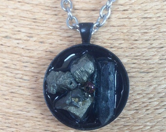 Pyrite and Blue Quartz Cluster Pendant