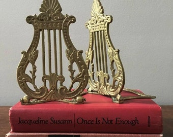 Vintage Music Lyre Bookends in Brass
