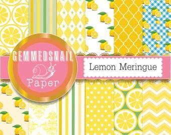Lemon digital paper 'Lemon meringue' 12 zesty lemon backgrounds