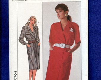 Vintage 1980's Simplicity 9147 Shirt-Dress with Large Notched Collar Double Breasted Size 14 to 20 UNCUT