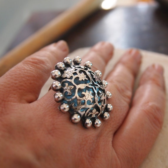 Ornate Sterling Silver Ring, Dome, Filigree, Statement, Big Large Ring, Ottoman Jewelry, Handmade Metalwork Art Jewelry, Open Band Ring