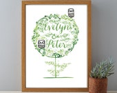 Mr and Mrs Wedding Owls Name & Date Gift Print