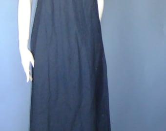 linen dress, black linen dress, sleeveless linen dress, trapeze dress, maxi dress, vintage dress xs sm