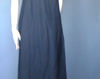 black linen dress, sleeveless linen dress, minimalist dress, maxi dress, vintage dress xs sm
