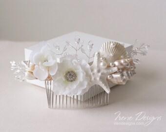 White Beach Wedding Hair Comb. Seashell Starfish Pearls Crystals & Flower Hair Comb. Beach Wedding Headpiece