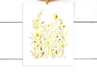 Yellow Flowers, Flower Print, Watercolor Print, Floral Watercolor, Botanical Print, Wall Art, prairie artwork, Art Print, Prairie Field