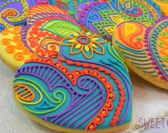 Custom Mehndi Heart Sugar Cookies (Set of Six)