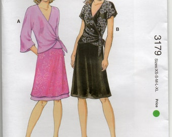 Bias Cut Wrap Top Tie In Left Side And Pull On Skirt Lightweight Woven Fabrics Size Xsml Sml Med Lrg Xlg Sewing Pattern Kwik Sew 3179