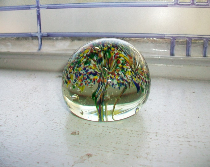 Vintage Art Glass Paperweight Multi Colored Mushrooms