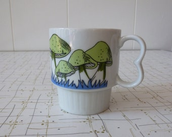 60's Stackable Mug Mushroom Coffee Cup Green Blue Groovy Made In Japan Ceramic Cup
