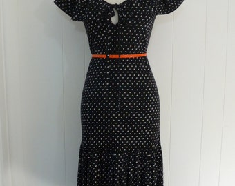 70's Diane Von Furstenberg Dress Black Confetti Drop Waist Shawl Collar Cotton Rayon Sundress M L